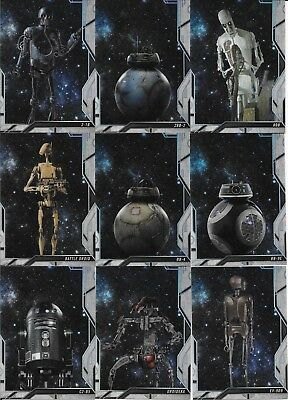 2018 Topps Finest Star Wars Complete 20 Card Droids Insert Set