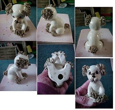 Vintage Porcelain Poodle Dog Figurine Spaghetti Tail Feet Ears Fly On Nose