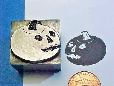 Jack-O'-Lantern HALLOWEEN! PUMPKIN Carved SPOOKY! OLD! Letterpress Printer's Cut