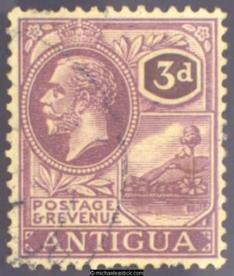 1925 Antigua 3d Purple on pale yellow, SG 74 Used