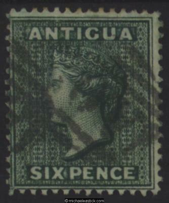 1876 Antigua 6d Blue-Green, SG 18, Used