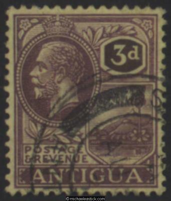 1925 Antigua 3d Purple on pale yellow, SG 74, Used (a)