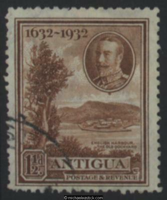 1932 Antigua 1½d Brown Tercentenary, SG 83 used