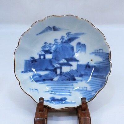 A628: Japanese plate of really old KO-IMARI blue-and-white porcelain.