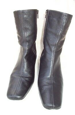 """Womens CARLO ROSETTI SOFT BLACK LEATHER~MEXICO 9"""" Zip UP BOOT~SZ 9~Mid-Calf SALE"""