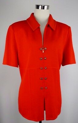 St. John Collection By Marie Gray Size 12 Red Santana Knit Zip Up Top/Jacket SS