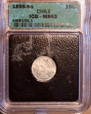 Chile 1896 Silver 10 Cents ICG MS 63
