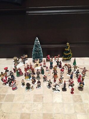 Lot of 47 Assorted Christmas Village Figurines and Accessories