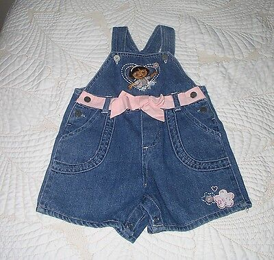 Dora The Explorer Infant Denim Coveralls Size 18 Months Nickelodeon Pink Bow