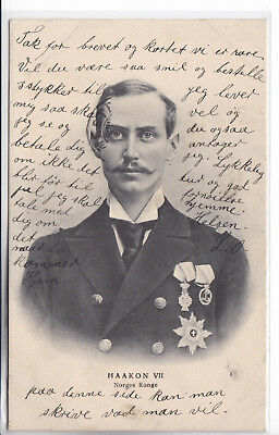 Norway Postcard 1907-1915 King Haakon VII With Medals