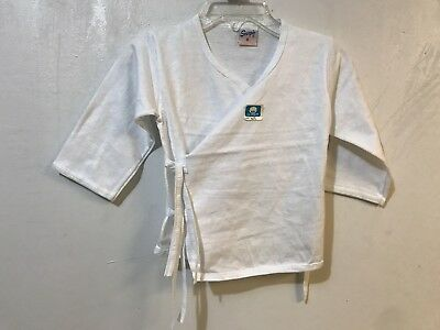 Vintage Made in Philippines Baby Boys Tie Front Shirt White Cotton Scorpio Brand