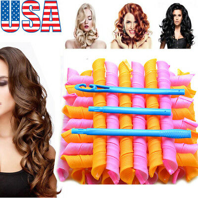36PCS Magic Long Hair Curlers Curl Formers Leverage Rollers Spiral lot Beauty