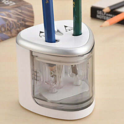 Electric Automatic Pencil Sharpener Dual Holes Battery Operated Office School