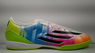 reputable site 34d50 74e94 Adidas Mens Rare F10 IN Messi F32677 White Green Indoor Soccer Shoes Size 9