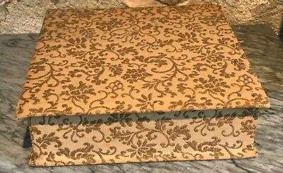 Old French Fabric & Gold Metallic Embroidered Religious Keepsake Box