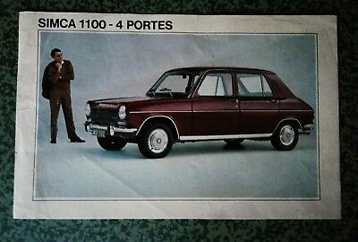 SIMCA 1100 catalogue brochure dépliant prospekt