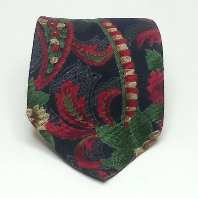 """Huntington Men Dress Tie Floral Print Wool Blend 3.75"""" wide 60"""" long Made in USA"""