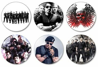 6 x Expendables 32mm BUTTON PIN BADGES Movie DVD Sylvester Stallone Rocky Action