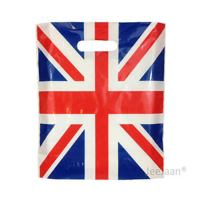 """500 Union Jack Plastic Carrier Bags 15""""x18""""+3"""" Gift Party Carry Patch Handle"""