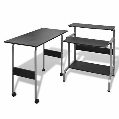 Black Office Computer Desk Writing Table Workstation Group Adjustable 3 Tiers
