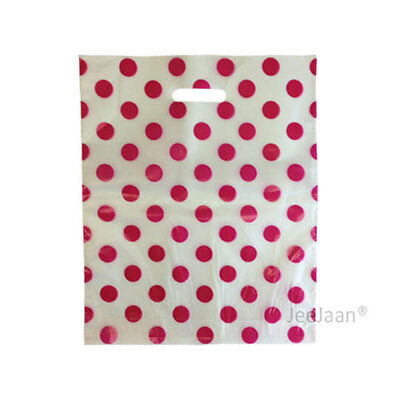 """200 Polka Dots Pink Plastic Carrier Bags 15""""x18""""+3"""" Gift Party Patch Handle"""
