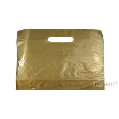 """200 Gold Plastic Carrier Bags 22""""x18""""+3"""" Gift Party Shop Carry Patch Handle"""