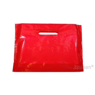 """500 Red Plastic Carrier Bags 22""""x18""""+3"""" Gift Party Shop Carry Patch Handle"""