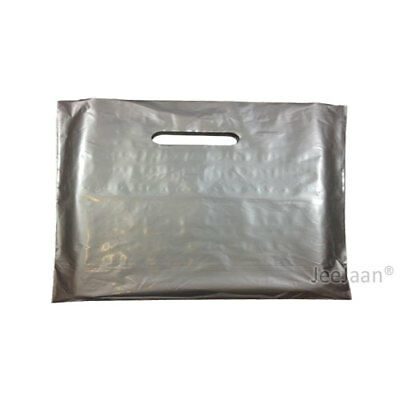 """200 Silver Plastic Carrier Bags 22""""x18""""+3"""" Gift Party Shop Carry Patch Handle"""