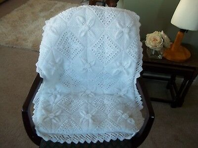 Prem/cot Cover - White - Quilted - Non Toxic Filling - Baby Hand Knitted