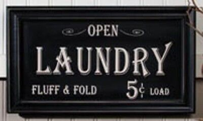 Vintage Laundry Sign Primitive Distressed Frame Country Antique NEW