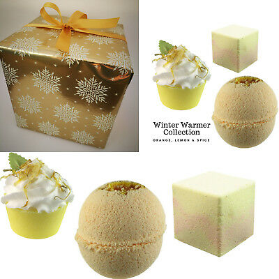 Bath Bombs Christmas Gift Luxury WRAPPED Set Natural Handmade Soap Shower Cubes