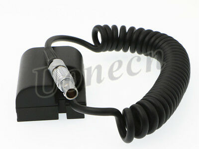 DRRI Dummy Battery LP-E6 to Lemo 2 pin Power Coiled Cable for Canon 5D3 5D mark II 7D 60D