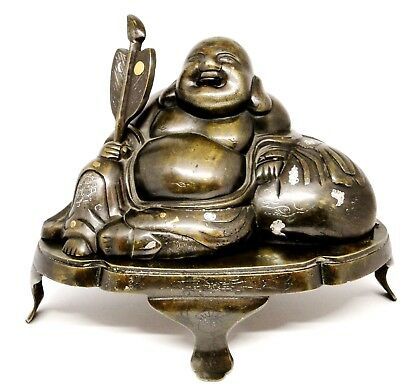 Antique Large Chinese Bronze & Mixed Metal Gold Silver Happy Buddha Qing 1880