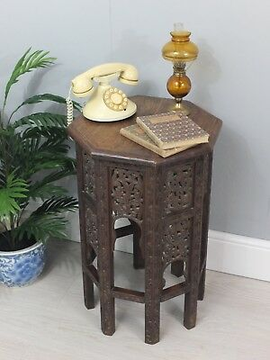 Vintage Anglo Indian Octagonal Carved Side Table Lamp Stand (203)