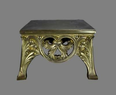 Antique French Ormolu Bronze Acanthus Leaf Square Pedestal Stand for Statues