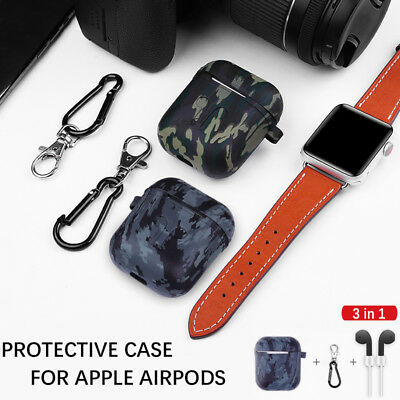 For Apple AirPods Silicone Cover Skin Case Hook Accessories Camouflage Protector