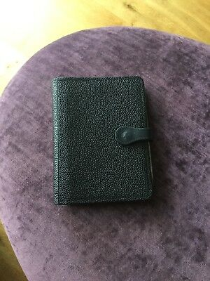Vintage Black Caviar Leather Filofax By Mulberry