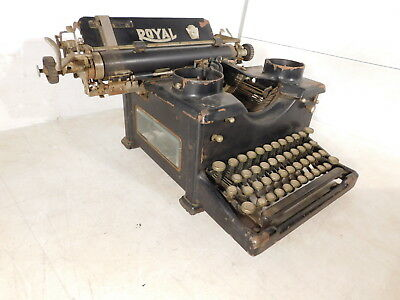 Antique c1910 Royal Glass Sides Industrial Office Bankers Typewriter X-930008