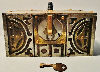 Rare Old Finely Crafted Tuareg Bedouin African Tea Box Wood Brass + Lock & Key
