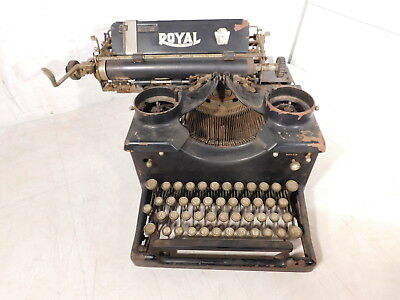 Antique c1910 Royal Glass Sides Industrial Office Bankers Typewriter X-795140