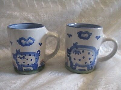 Set of 2 M.A. Hadley Coffee Mugs: Hand-painted Pigs Lot #2