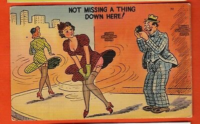 """Comic linen postcard/ wind blowing lady's skirt/ man taking pictures/ """"not missi"""
