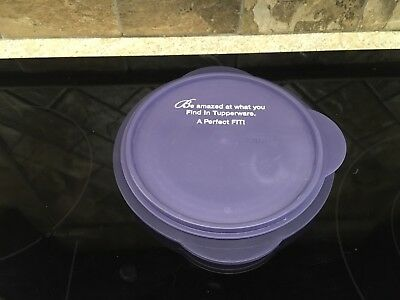 Tupperware Advertising 5453 Purple Flat Out Collapsible Bowl with 5455 Seal EUC