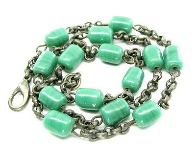 Green Glass Beads Oxidised finish Link chain Necklace 17.5 Inch