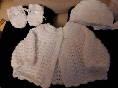 NEW Hand Knitted Baby Cardigan In White with bonnet and mittens