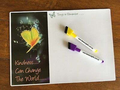 A4 Kindness Butterfly Fridge Magnet Whiteboard Reminder Notes To Do List +2pens