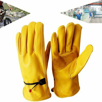 Motorcycle Warehouse Cow Leather Work Gloves Gloves Elastic Wrist Protective