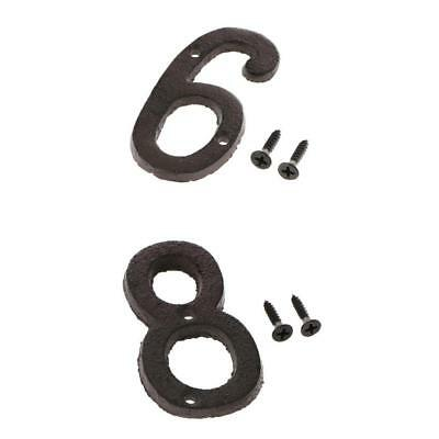6 &8 Metal Wrought Iron House Address Number Digits for Home Door Sign Plate