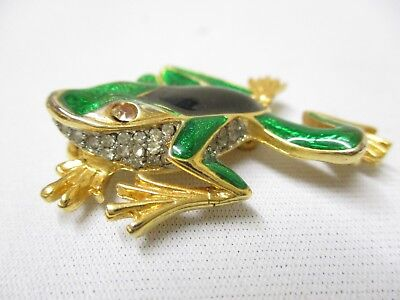Vintage Gold Plated Green Jewelry Frog Lapel Pin Clasp