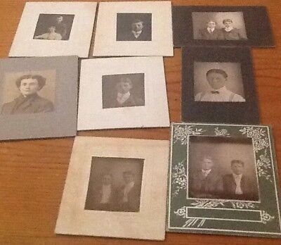 Antiques about 2 by 3 inches pictures of people, 1800? 8 pictures, black & white